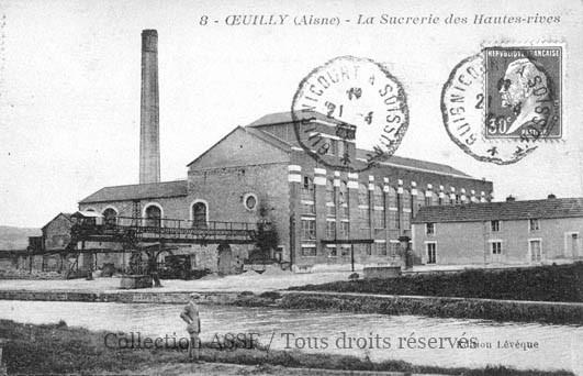 Implantation traditionnelle d'une sucrerie desservie par un canal. PS : selon une information d'un ancien de Maizy, M.Cazier, d'Origny Sainte Benoite, il s'agirait en fait de la sucrerie de Maizy, aussi nommée sucrerie de Villers en Prayère, malgré les indications mentionnées en haut de la carte.