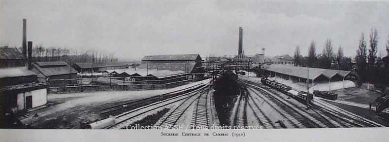 L'impressionnant faisceau d'arrivée de l'établissement de Cambrai. Voies normales à gauche du cliché, voie métriques à droite.