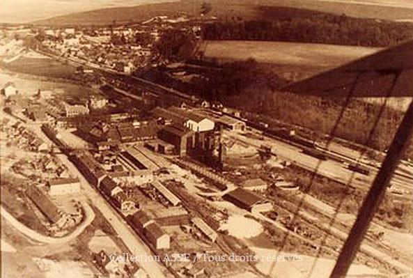 Vue réalisée par le pilote de l'avion, Monsieur Varnery, ingénieur chef de fabrication, parti peu après comme directeur de la sucrerie d'Aulnat près de Clermond-Ferrand.