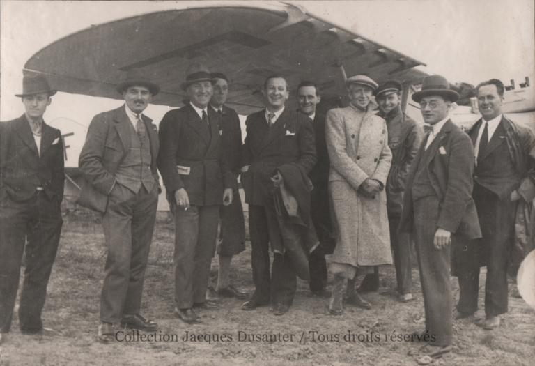 Ronceret, Cordiez, Huguet, Prache, Tessier, Angiolini, Leclère, Louis, lors de la visite de Prache et Bernard venus de Beauvais